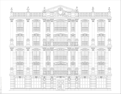 Эскиз фасада отеля  в классической манере с римскими мотивами. 02.