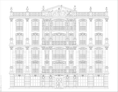 Эскиз фасада отеля  в классической манере с римскими мотивами. 03.