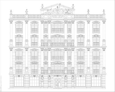 Фасада отеля ч б версия 01 эскиз фасада